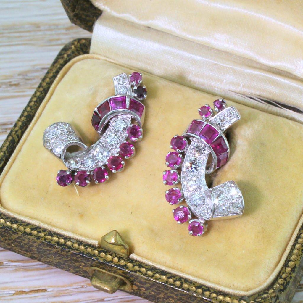 mid century 200 carat ruby 038 125 carat diamond ear cuff earrings circa 1950