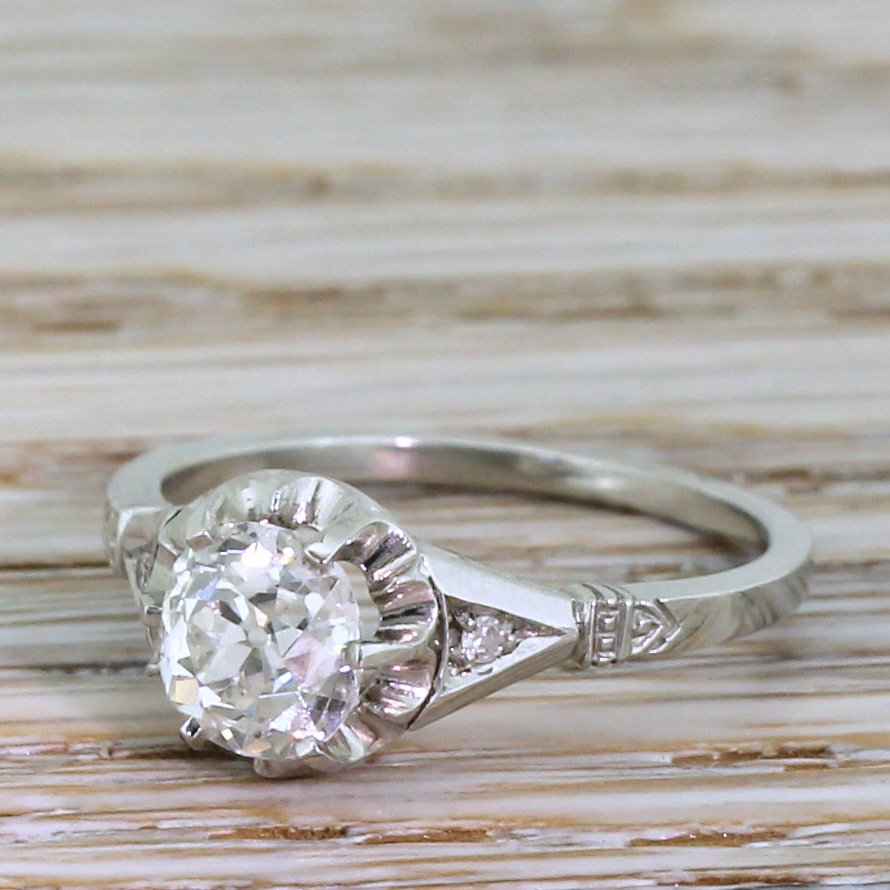 art deco 103 carat old cut diamond engagement ring circa 1920