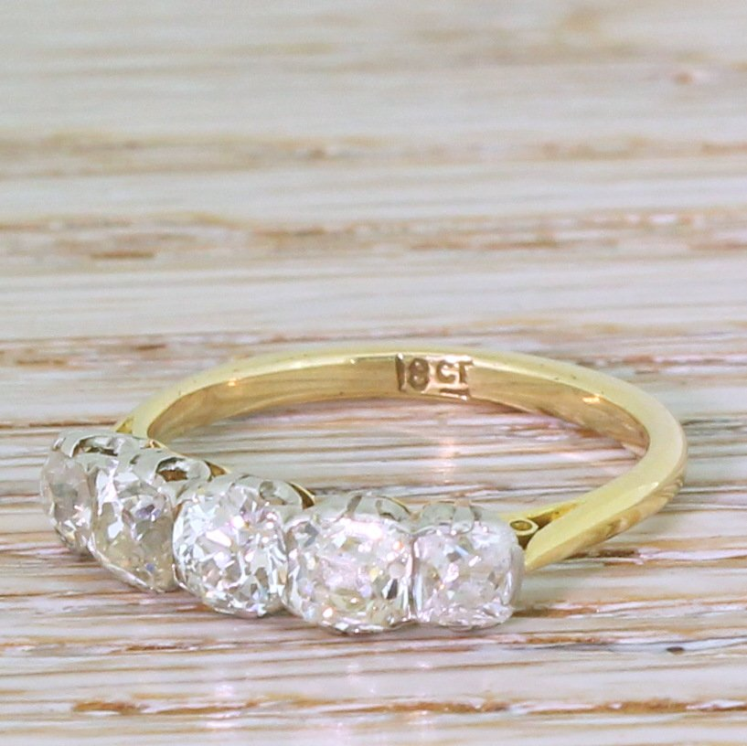 art deco 195 carat old mine cut diamond five stone ring circa 1915