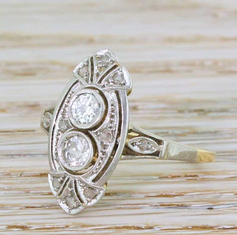 belle poque old cut diamond two stone ring circa 1910