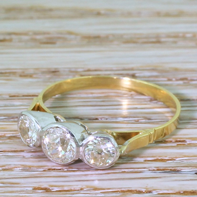 mid century 096 carat old cut diamond trilogy ring circa 1955