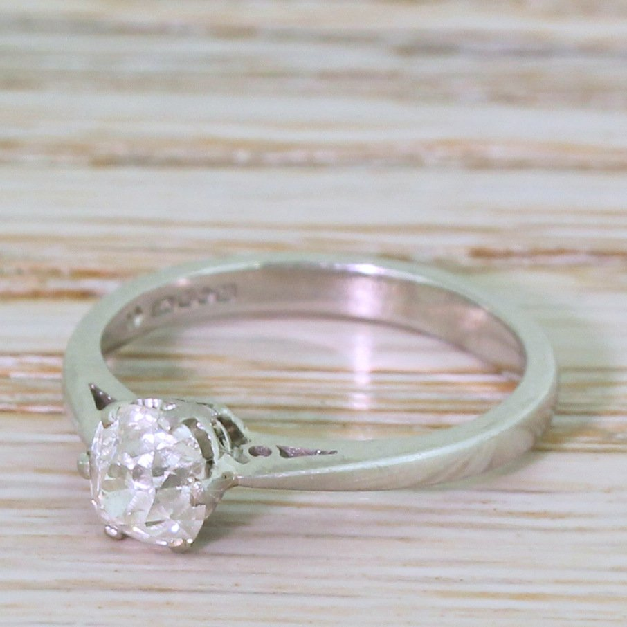078 carat old mine cut diamond engagement ring platinum