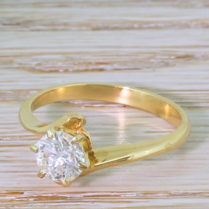 late 20th century 101 carat brilliant cut diamond crossover solitaire ring french circa 1970