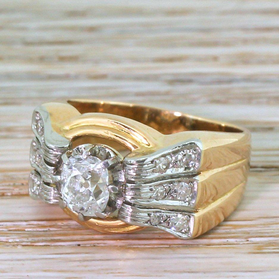 art deco 098 carat old mine cut diamond ring french circa 1925