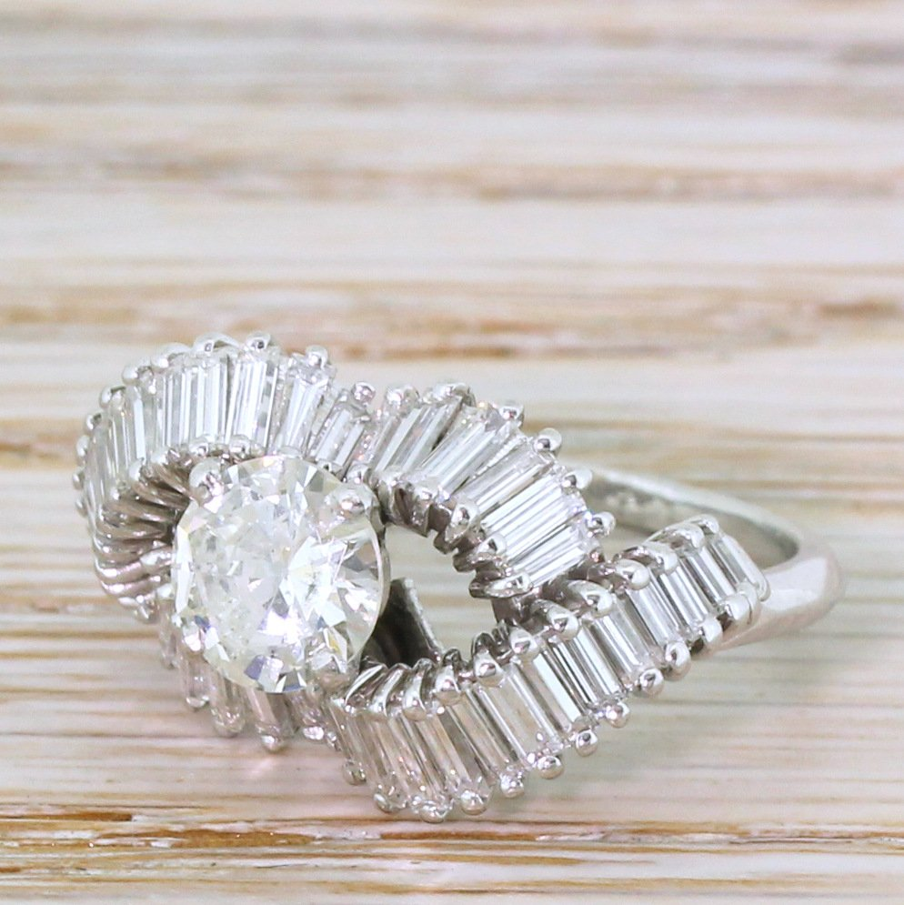 mid century 221 carat round 038 baguette cut diamond cluster ring circa 1965