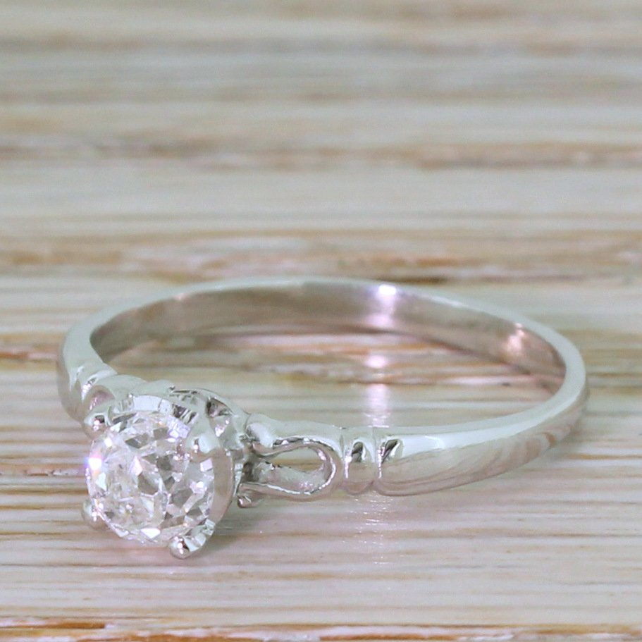 art deco 063 carat old mine cut diamond engagement ring circa 1920