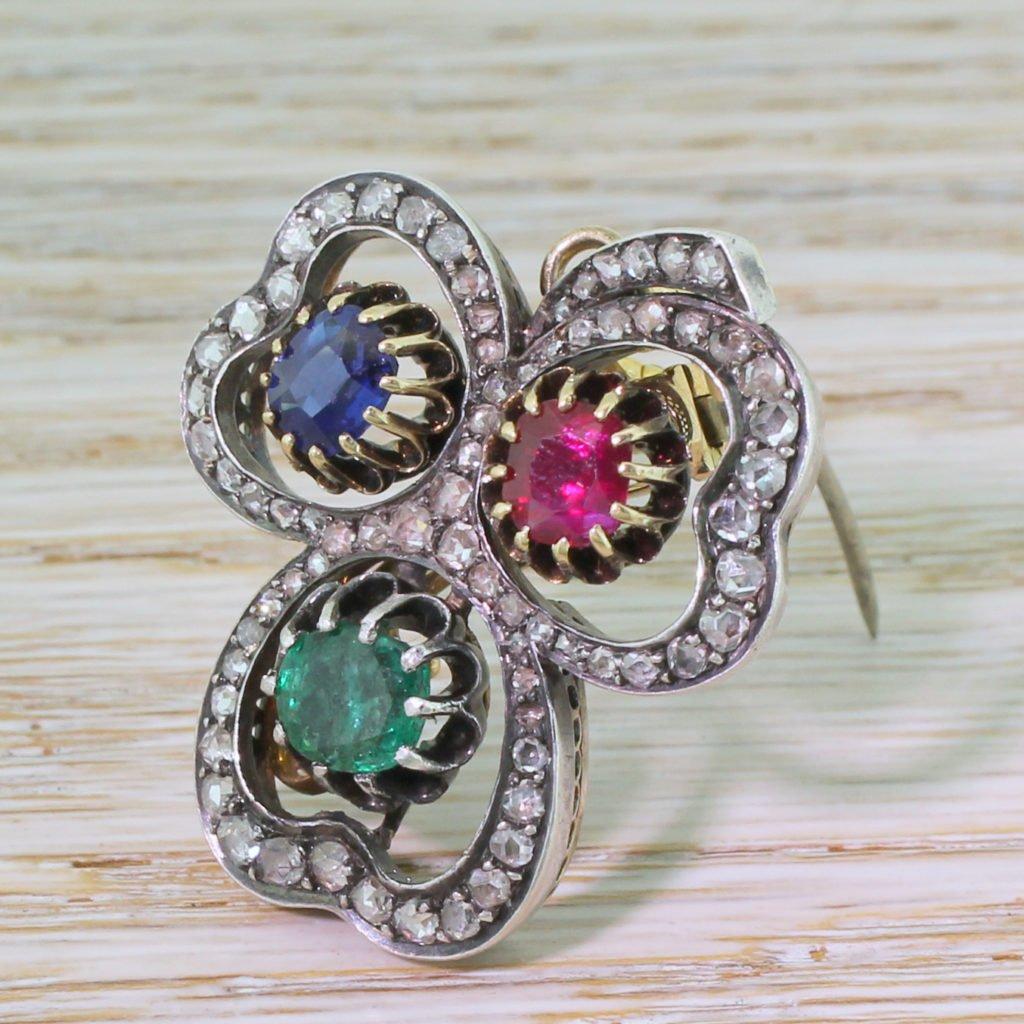 victorian emerald sapphire ruby 038 diamond clover pendant  brooch circa 1890