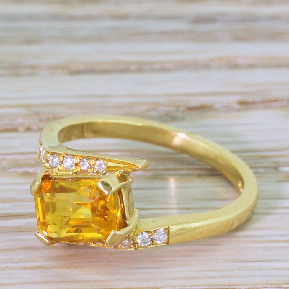 modern 236 carat emerald cut orange sapphire solitaire ring 18k yellow gold