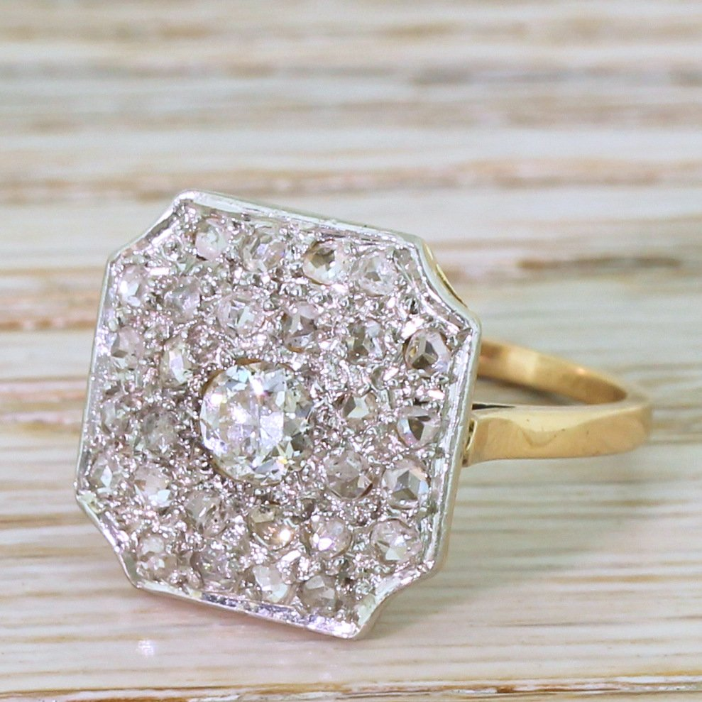 art deco 087 carat old cut 038 rose cut diamond cluster ring french dated 1945