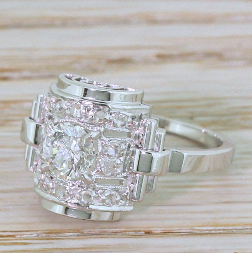 retro 060 carat diamond barrel ring french circa 1950