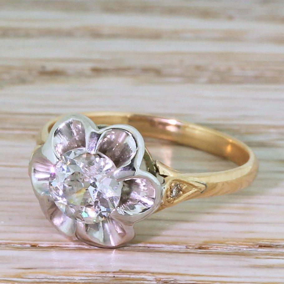 retro 099 carat old cut diamond engagement ring circa 1950