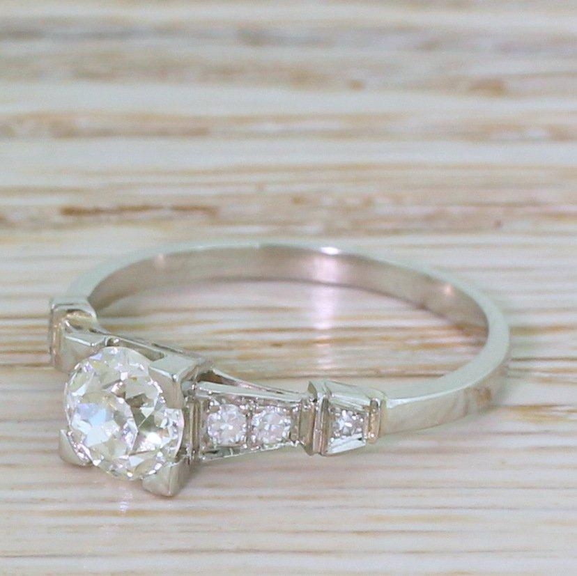 art deco 075 carat old cut diamond engagement ring circa 1920