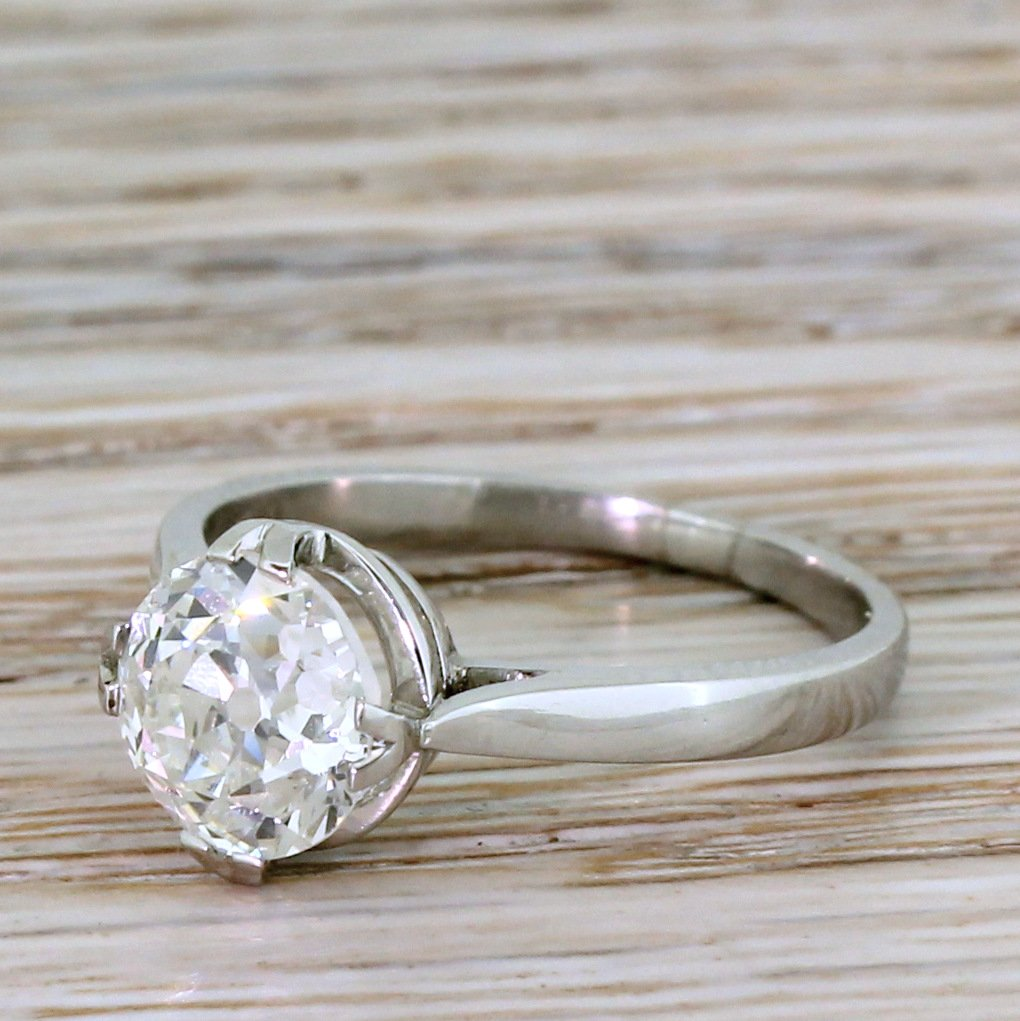 art deco 201 carat old cut diamond engagement ring french circa 1920