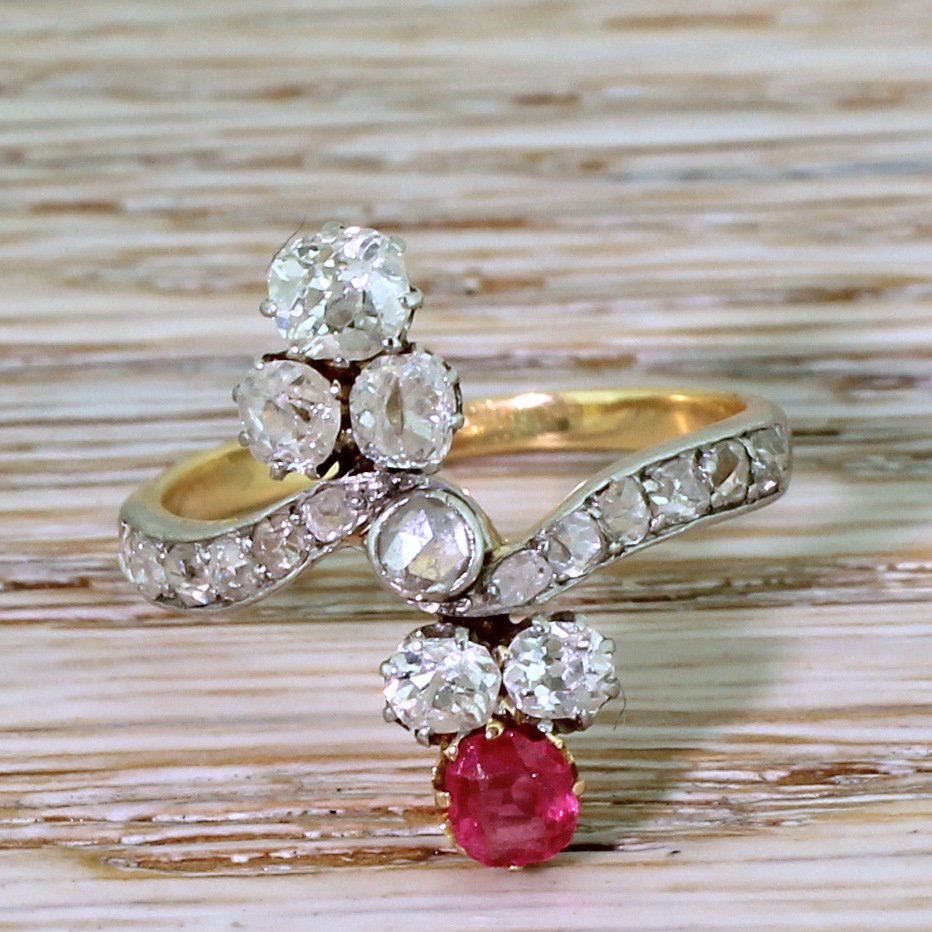 art nouveau old cut diamond 038 red spinel ring circa 1905