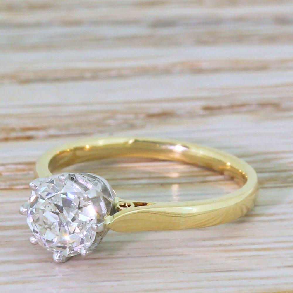 art deco 123 carat old cut diamond engagement ring circa 1925