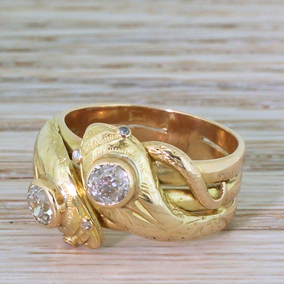 victorian 070 carat old cut diamond double serpent ring circa 1880