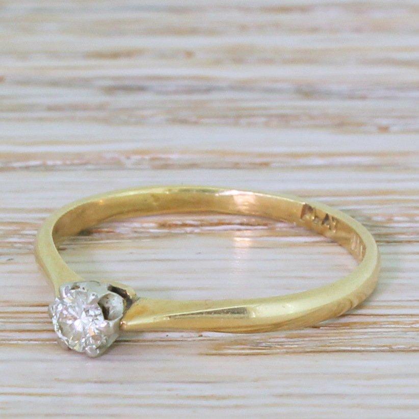 late 20th century 020 carat round brilliant cut diamond engagement ring circa 1970