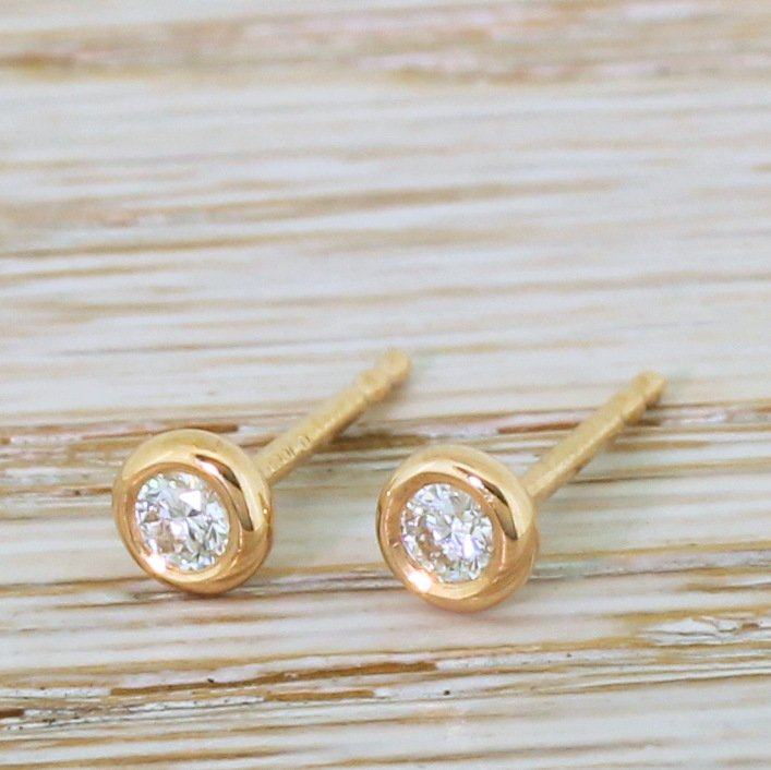 016 carat round brilliant cut diamond stud earrings 18k rose gold