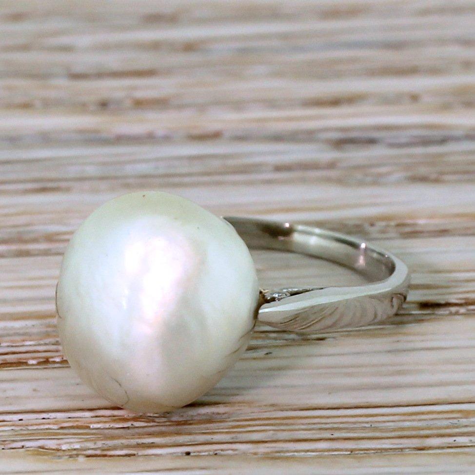 art deco natural saltwater pearl solitaire ring circa 1940