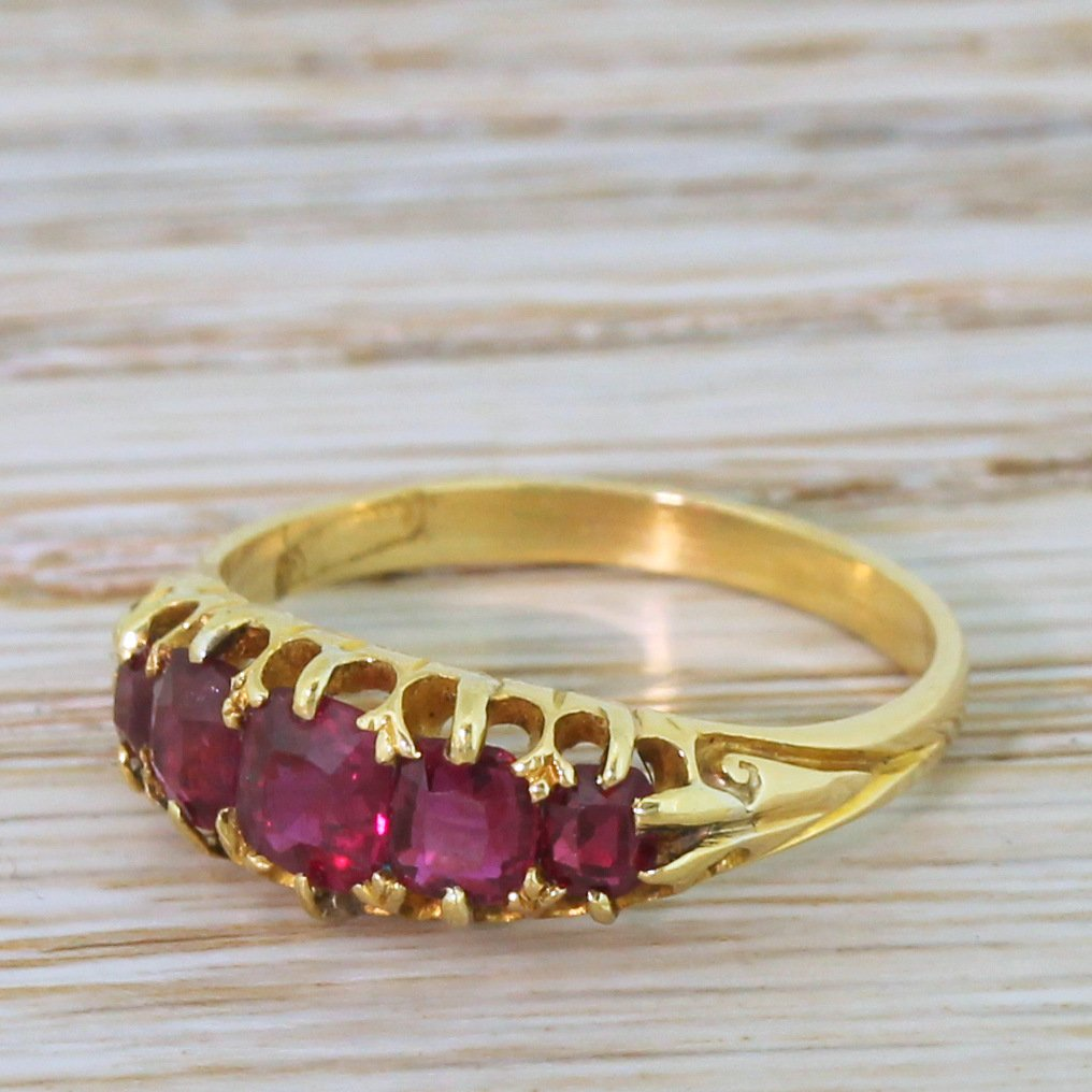 victorian 100 carat natural ruby five stone ring circa 1900