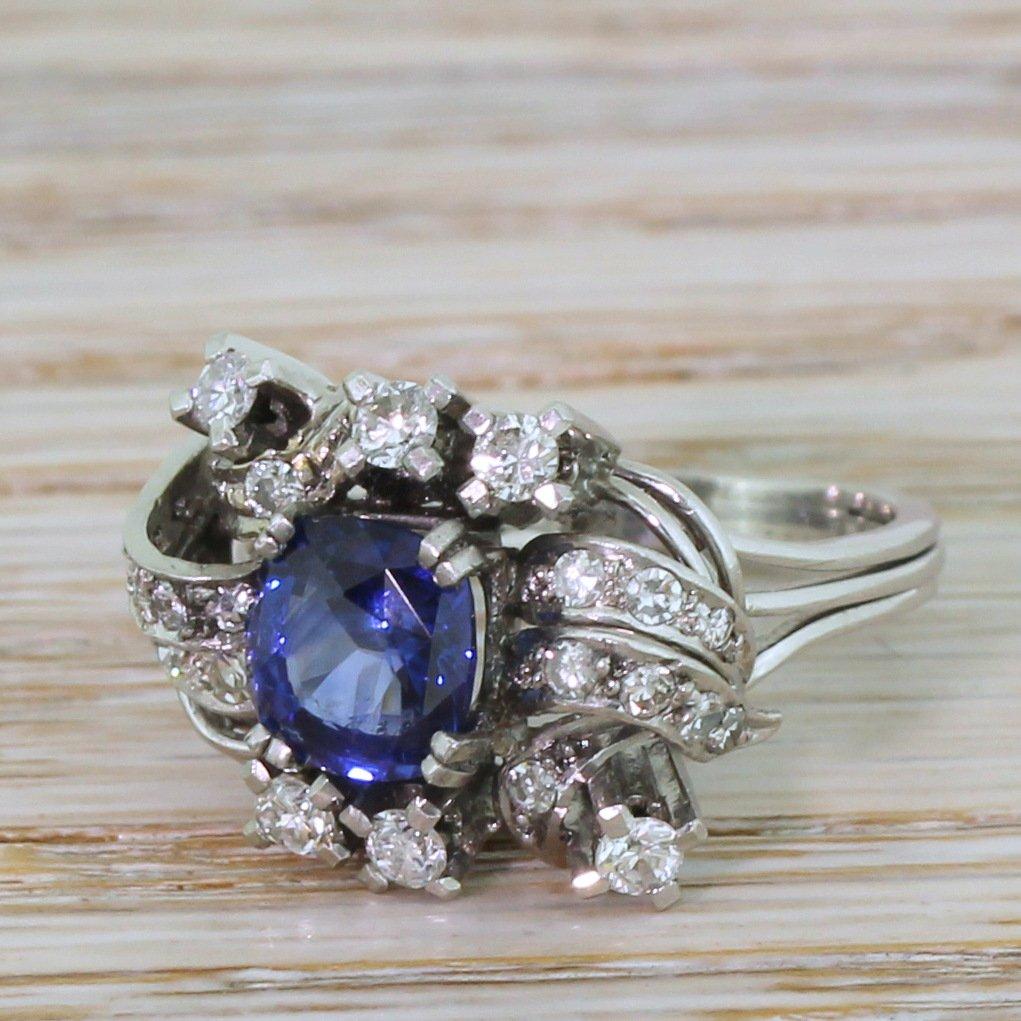 mid century 202 carat sapphire 038 063 carat diamond ring circa 1965