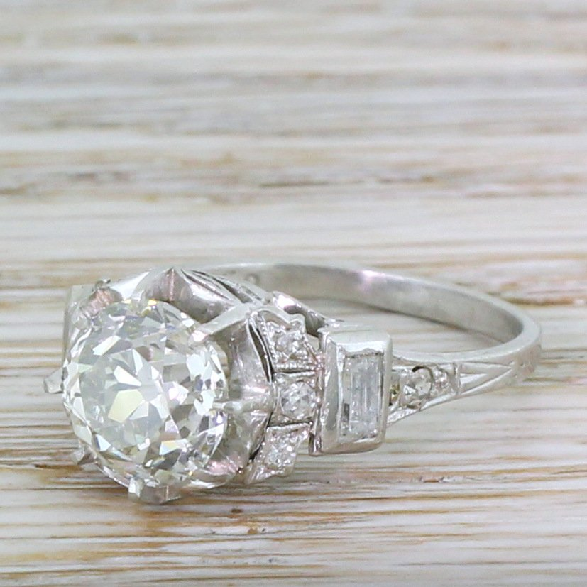 art deco 233 carat old cut diamond engagement ring circa 1925