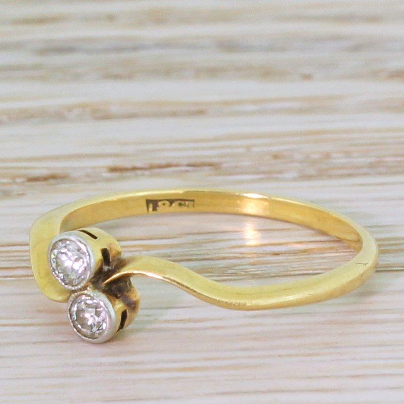 edwardian 020 carat old cut diamond crossover ring circa 1910