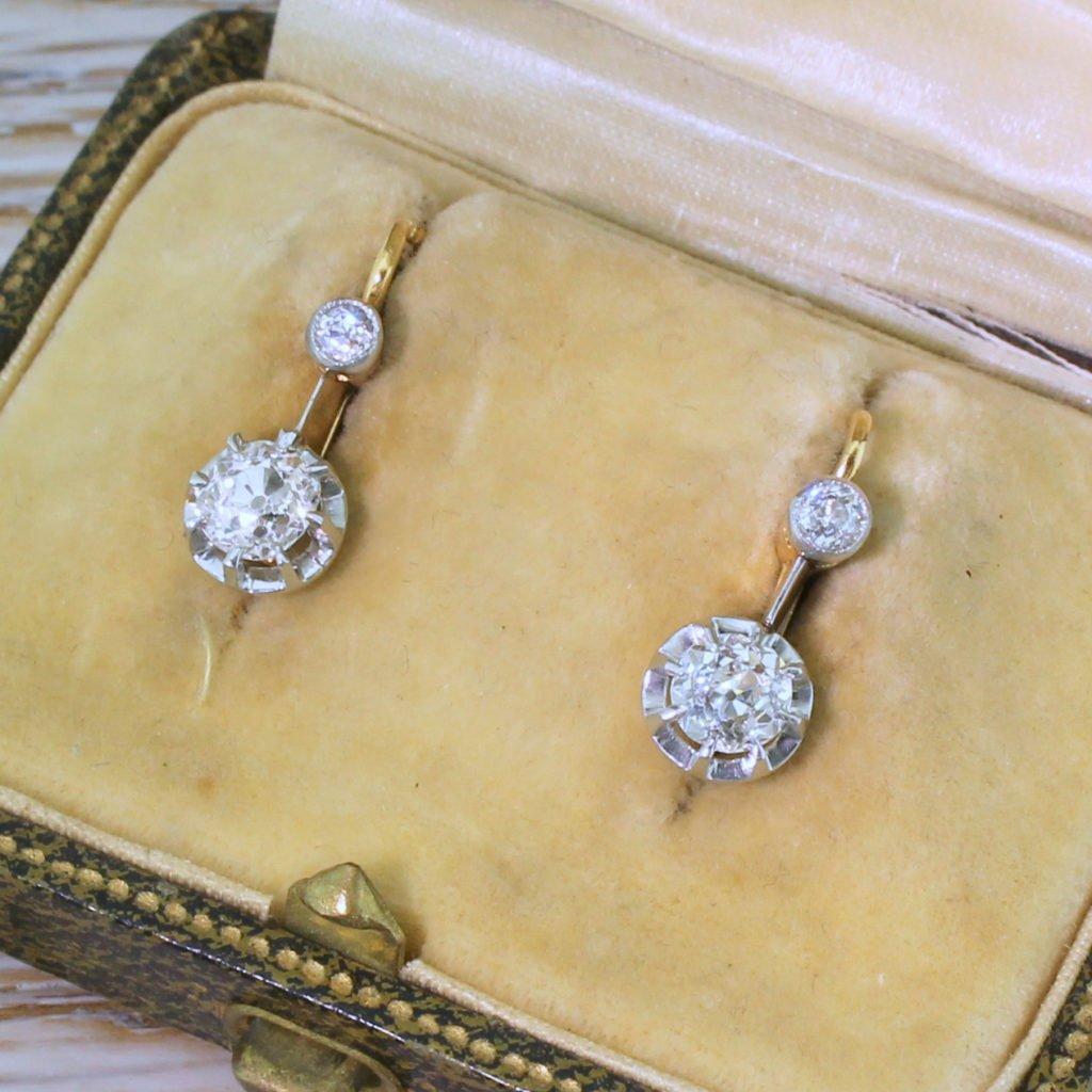 art deco 152 carat old european cut diamond drop earrings circa 1935
