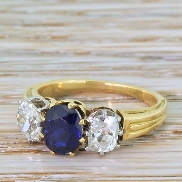 art deco 080 carat sapphire 038 053 carat diamond trilogy ring circa 1920