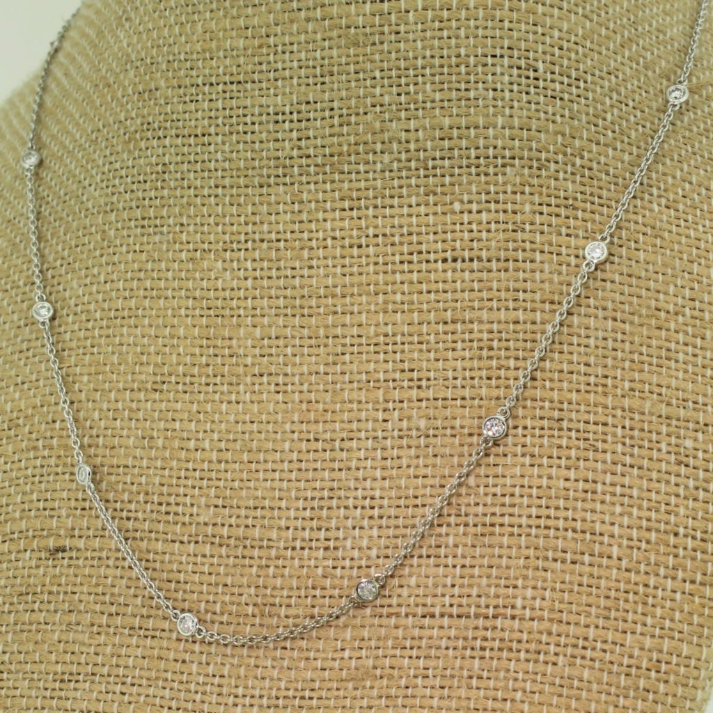 100 carat round brilliant cut diamond chain necklace 18k white gold