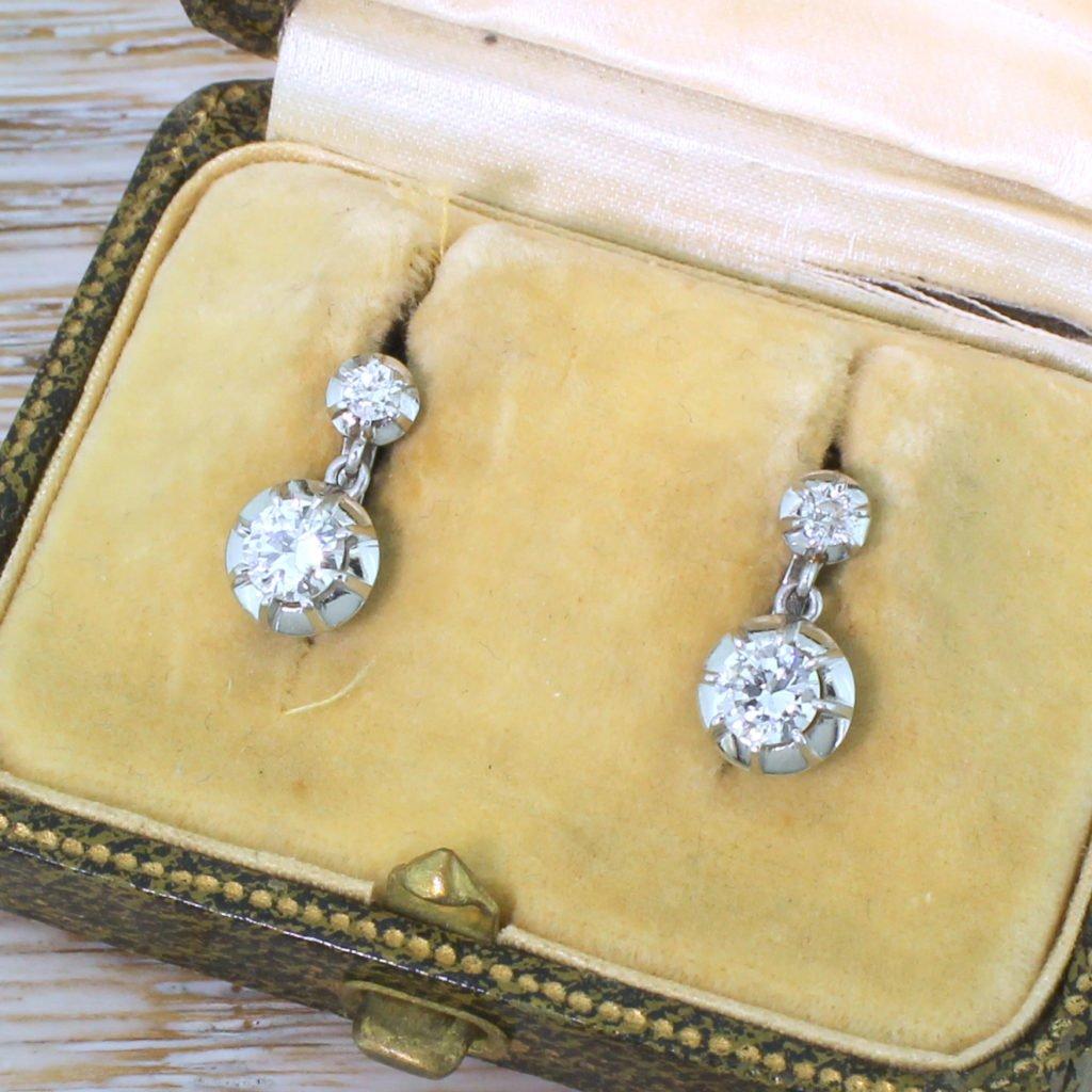 mid century 086 carat transitional cut diamond earrings circa 1950