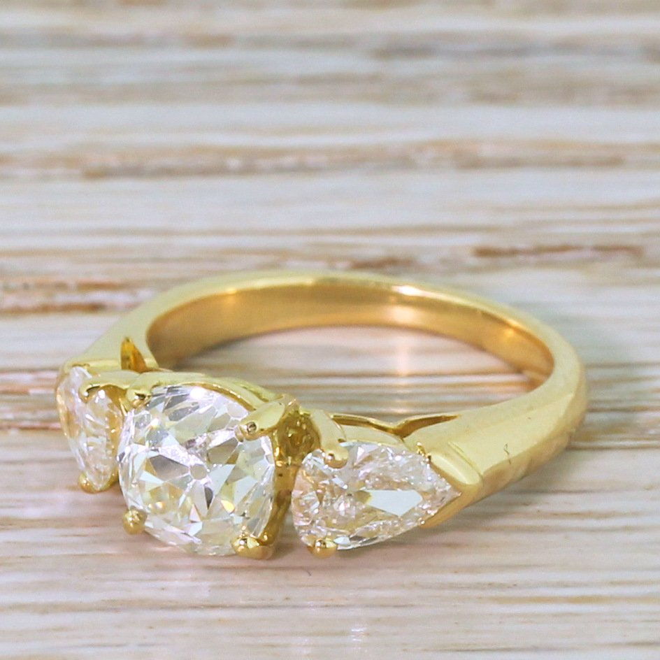 art deco 252 carat old cut 038 pear cut diamond trilogy ring french circa 1930