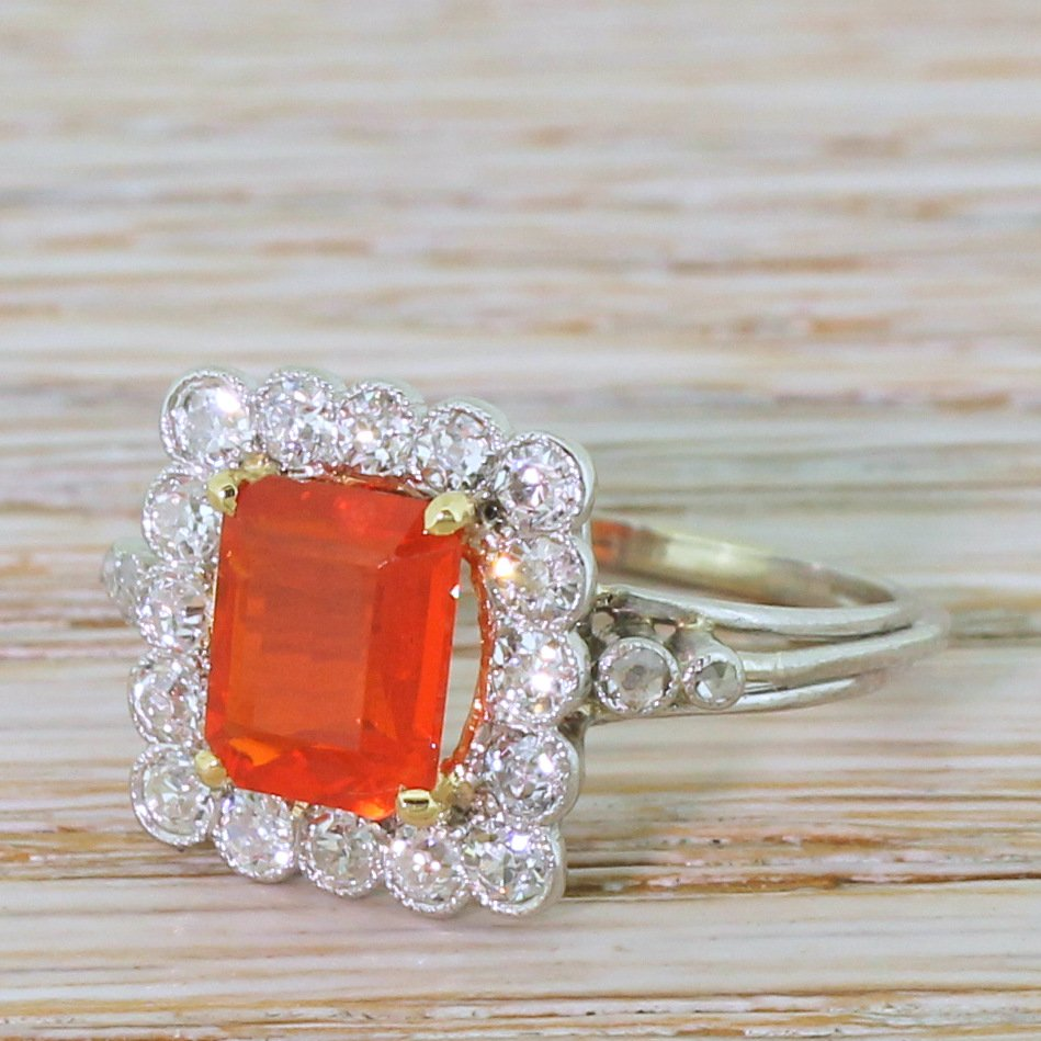 mid century 130 carat fire opal 038 072 carat diamond ring circa 1960
