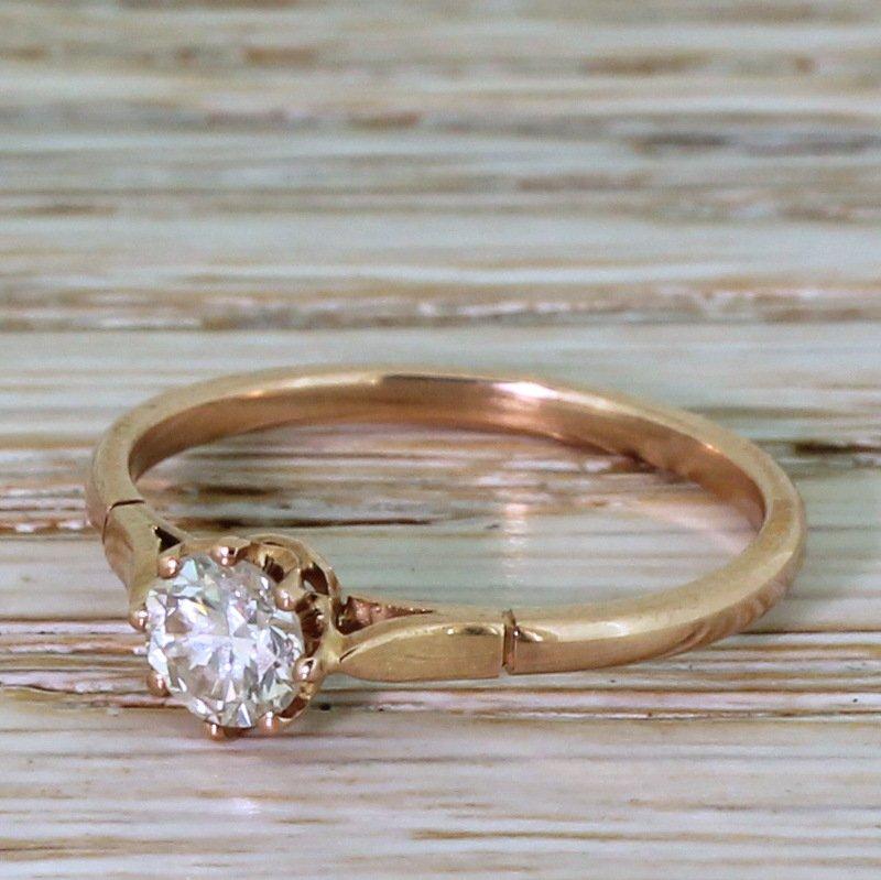mid century 043 carat transitional cut diamond engagement ring circa 1955