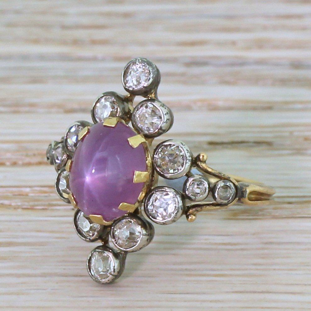 victorian 468 carat ceylon purple star sapphire 038 diamond ring circa 1890