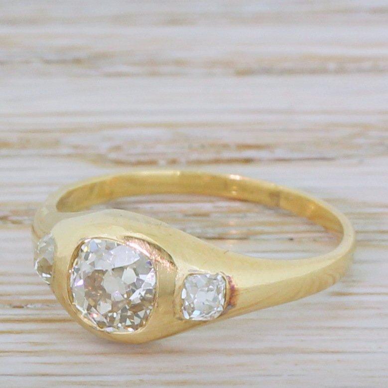 victorian 111 carat old cut diamond trilogy ring circa 1900