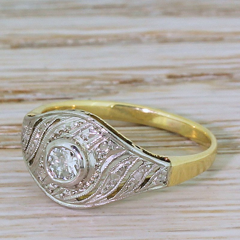 art deco 025 carat old cut diamond swirl ring circa 1920
