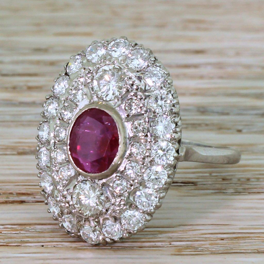 mid century 156 carat burmese ruby 038 290 carat diamond ring circa 1965