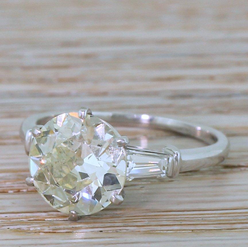 mid century 300 carat old cut diamond engagement ring french circa 1950