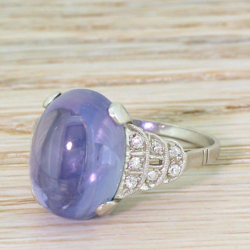 art deco 1196 carat natural ceylon cabochon sapphire ring circa 1925