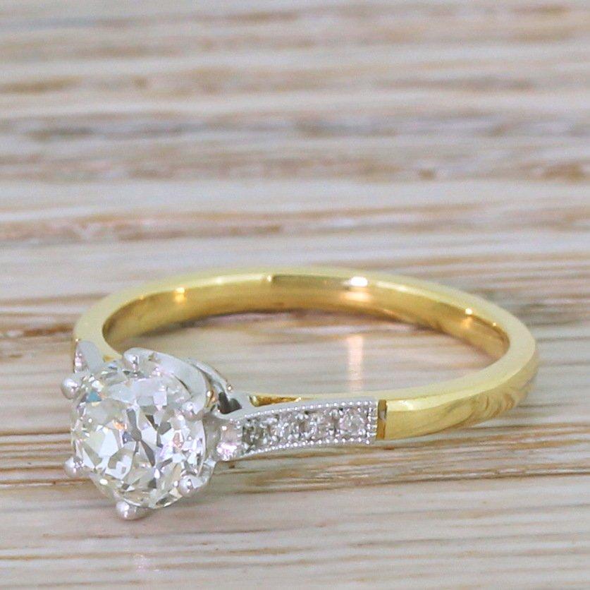 art deco 100 carat old cut colour i diamond engagement ring circa 1920