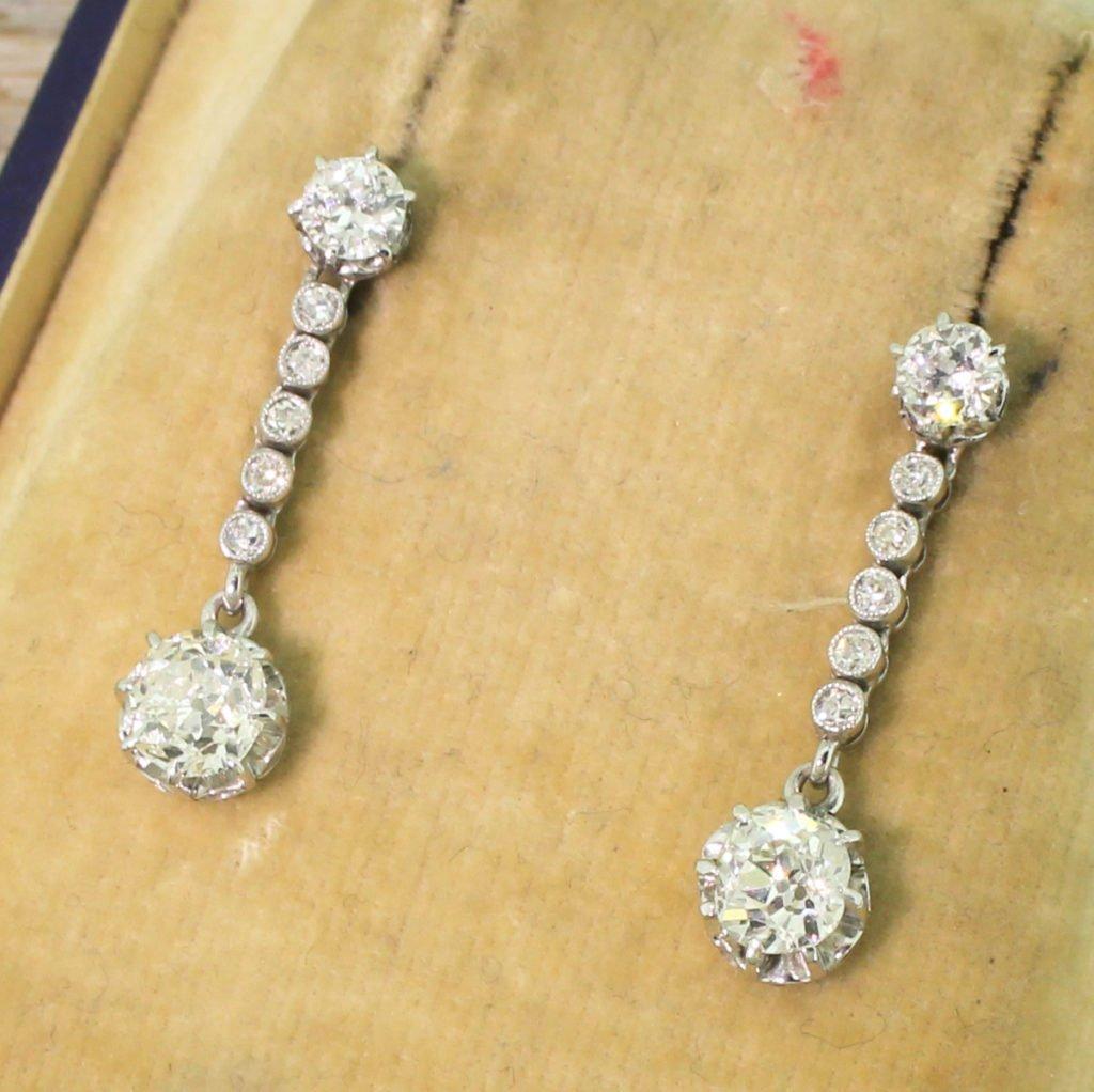 art deco 178 carat old cut diamond drop earrings circa 1940