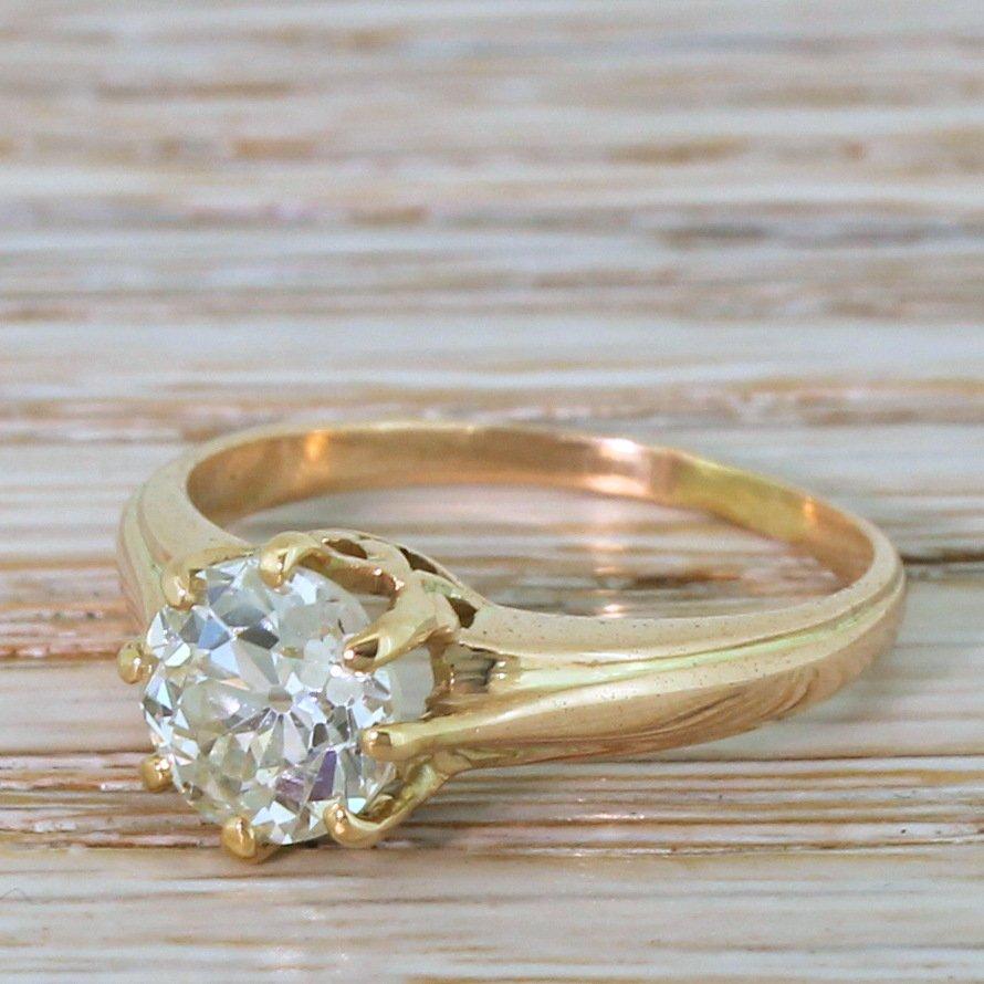 art deco 130 carat old cut diamond engagement ring circa 1920 18k gold
