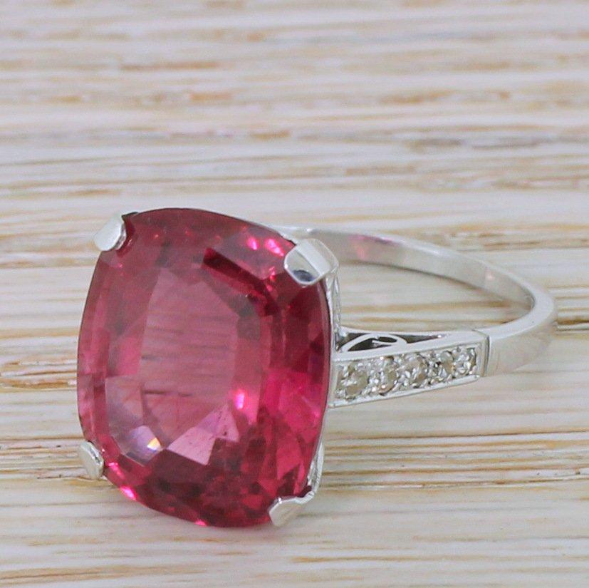 mid century 1146 carat rubellite solitaire ring circa 1950
