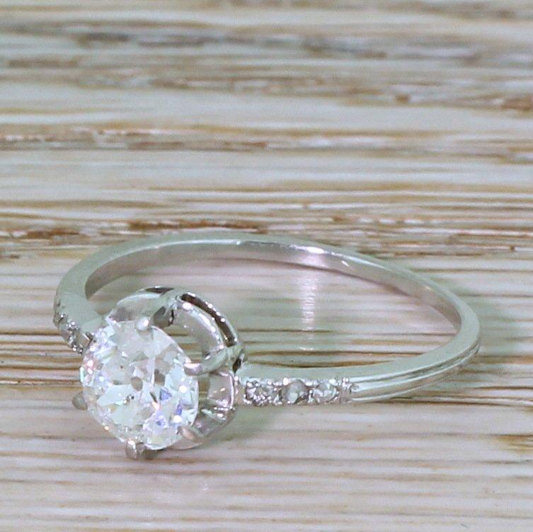 art deco 100 carat old cut colour f diamond engagement ring circa 1920
