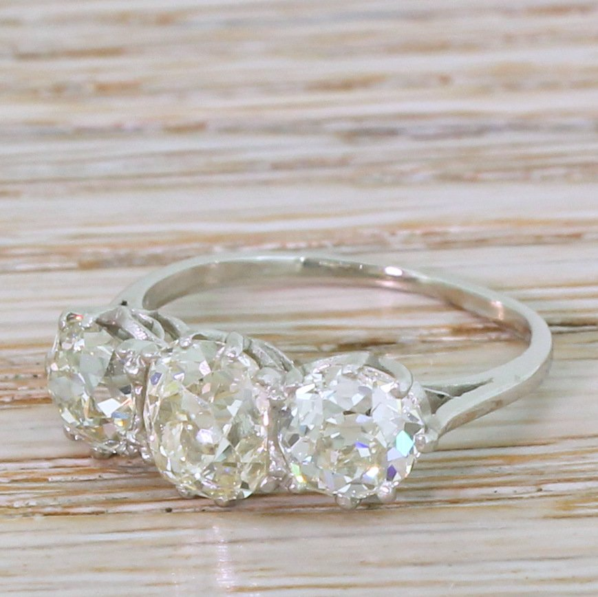 art deco 356 carat old cut diamond trilogy ring circa 1920