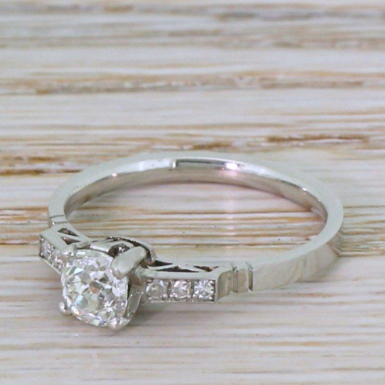 art deco 062 carat old cut diamond engagement ring circa 1920