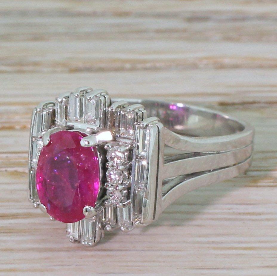 late 20th century 189 carat natural burmese ruby 038 diamond ring circa 1975