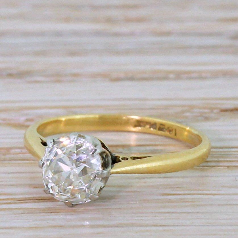 art deco 125 carat old cut diamond engagement ring circa 1925