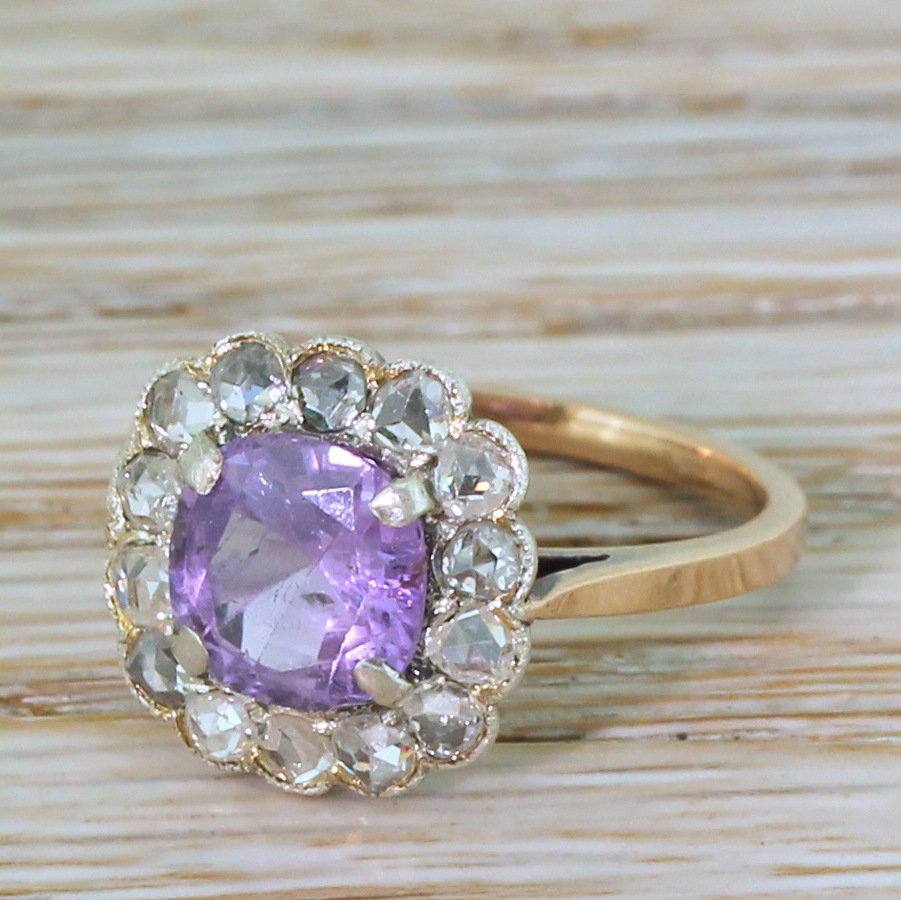 art deco 197 carat purple sapphire 038 rose cut diamond ring circa 1940